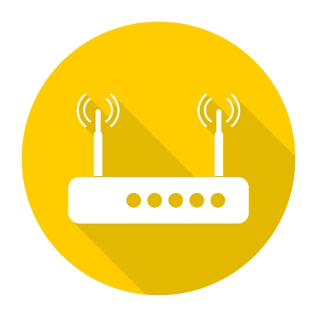 dsl: Router icon with long shadow