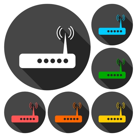 adsl: Router icons set with long shadow