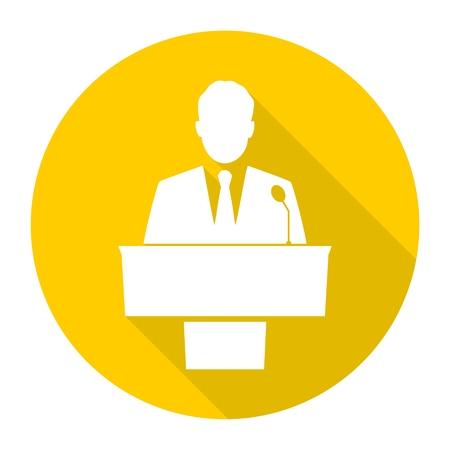 public speaker: Public speaker icons set with long shadow