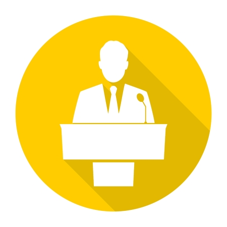 Public speaker icons set with long shadow