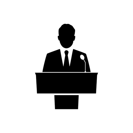 Public speaker icon  with long shadow Stock Vector - 56719079