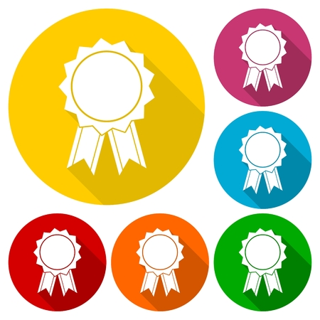 medal like: Award icon, Vector illustration icons set with long shadow