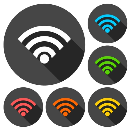 Wireless and wifi icon or sign set with long shadow