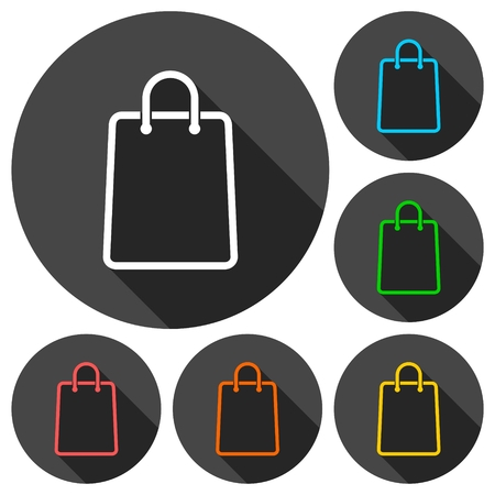 Shopping bag icons set with long shadow