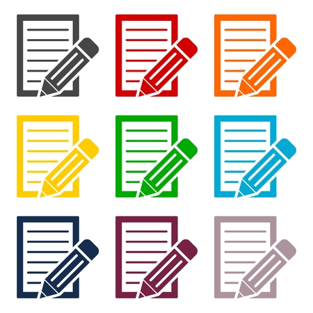 Document With Pencil Icons set