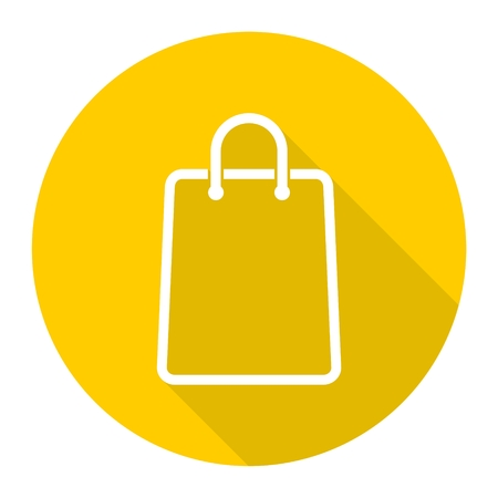 Shopping bag icon with long shadow Illustration