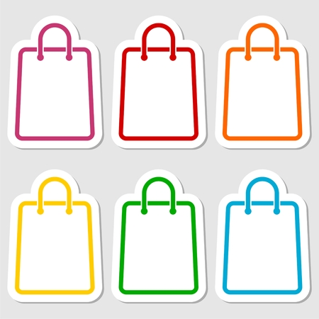 grocery store series: Shopping bag icon stickers set Illustration