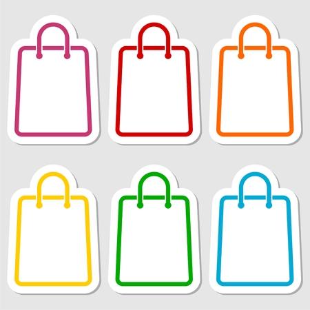 Shopping bag icon stickers set Illustration