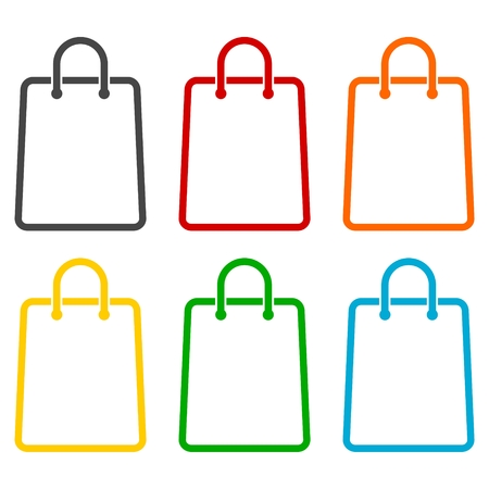 grocery store series: Shopping bag icons set Illustration