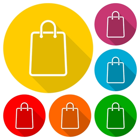 grocery store series: Shopping bag icons set with long shadow