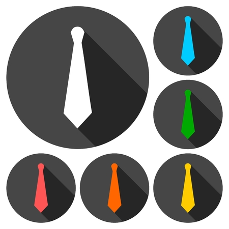 office wear: Necktie icons set with long shadow