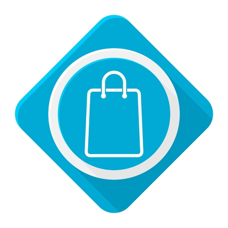 Blue icon shopping bag with long shadow Illustration