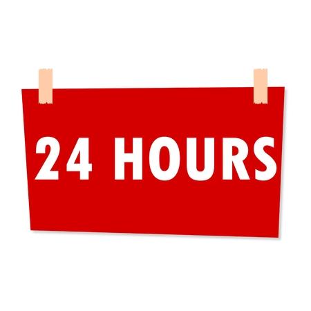 hours: 24 Hours Sign - illustration