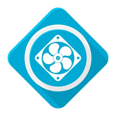 orificio nasal: ventilador icono azul con una larga sombra Vectores