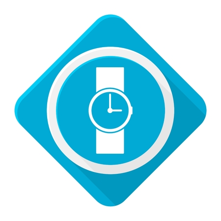 wristwatch: Blue icon wristwatch with long shadow
