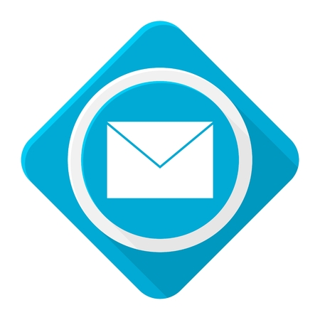 get in touch: Blue icon mail with long shadow