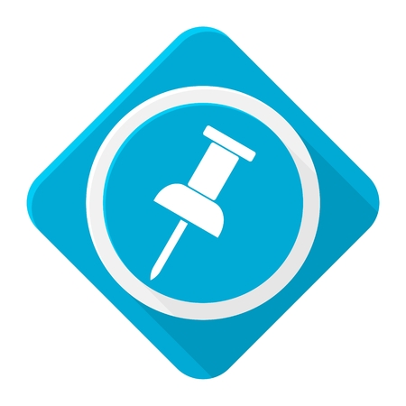 Blue icon pushpin with long shadow