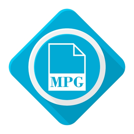 mpg: Blue icon mpg file with long shadow