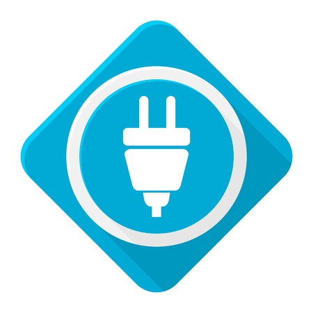 plug in: Blue icon Plug in with long shadow Illustration