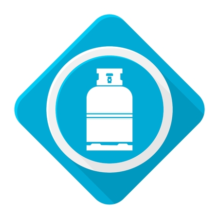 fillup: Blue icon gas bottle with long shadow