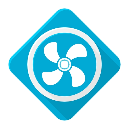 exhaust: Blue icon exhaust fan with long shadow