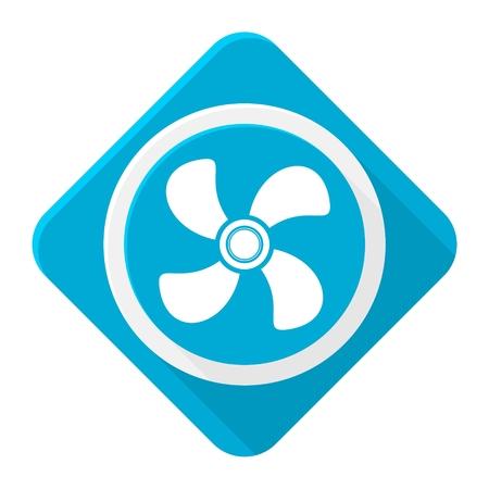 orificio nasal: ventilador de escape icono azul con una larga sombra Vectores