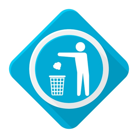 local supply: Blue icon man throwing garbage into trash with long shadow