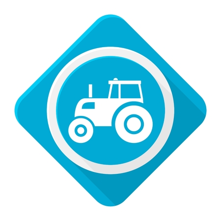 country side: Blue icon tractor with long shadow