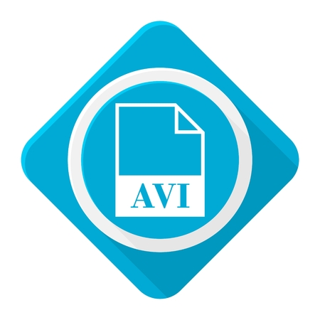 avi: Blue icon avi file with long shadow
