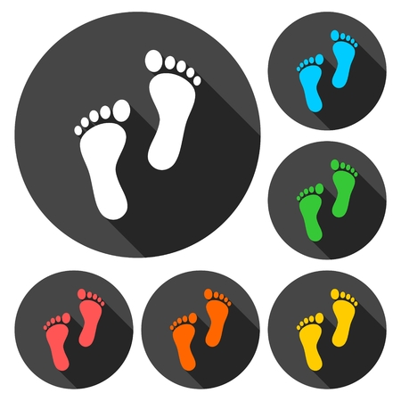 forensic: Two footprint icons set with long shadow