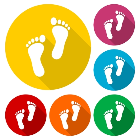Two footprint icons set with long shadow