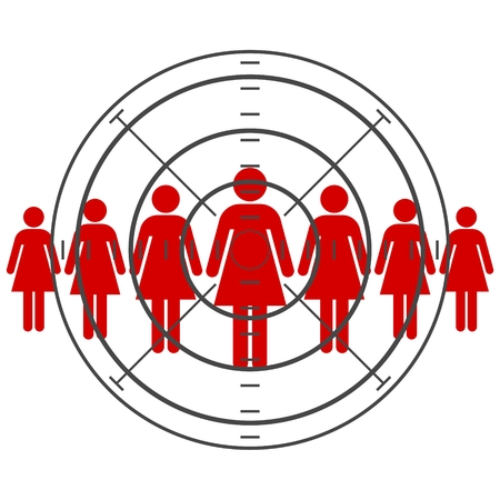 targeted: Women are standing, targeted consumer Illustration
