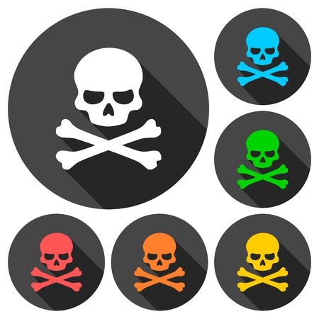 crossbones: Crossbones and skull icons set with long shadow Illustration