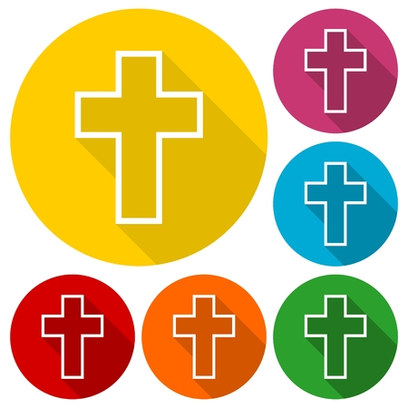 protection of the bible: Religious cross, Christian sign icons set with long shadow