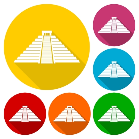 quetzalcoatl: Chichen Itza Icons set with long shadow Illustration