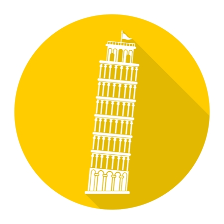 Leaning tower of Pisa icons Illustration