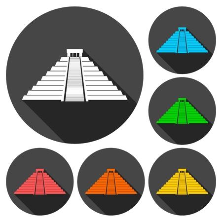 itza: Chichen Itza Icons set with long shadow Illustration