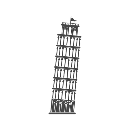Leaning tower of Pisa icon Illustration