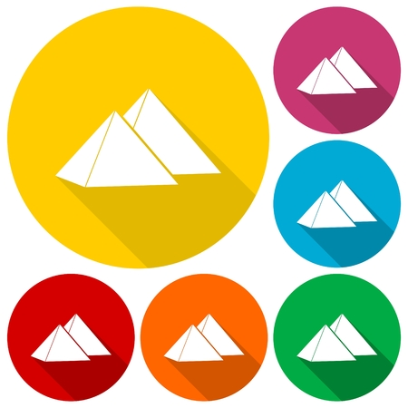 excursions: Pyramids icons set with long shadow