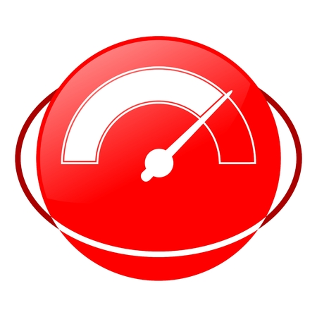 needle valve: Red icon, pressure gauge vector ilustration Illustration