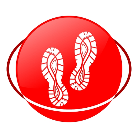 shoeprint: Red icon, shoes vector ilustration Illustration