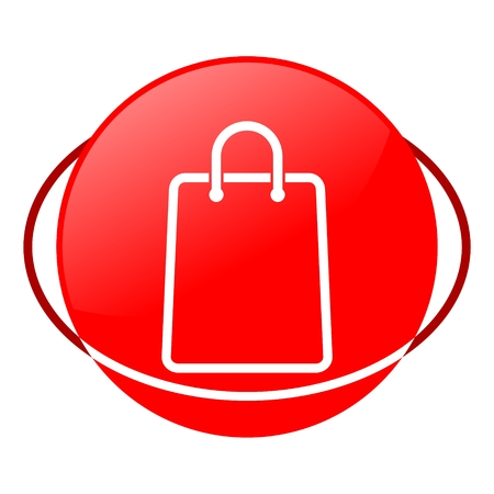 grocery store series: Red icon, shopping bag vector ilustration
