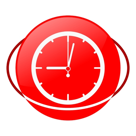 ilustration: Red icon, clock vector ilustration
