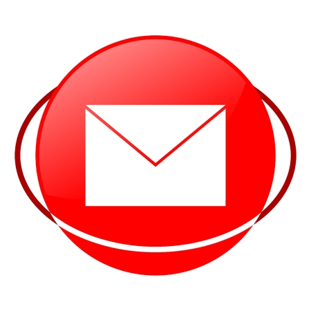 get in touch: Red icon, mail vector ilustration