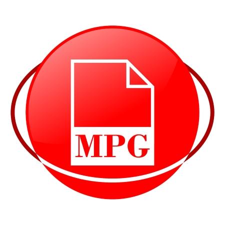 mpg: Red icon, mpg file vector ilustration Illustration