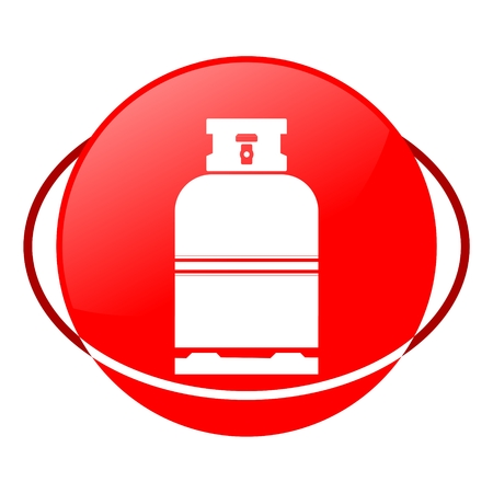 fillup: Red icon, gas bottle vector ilustration