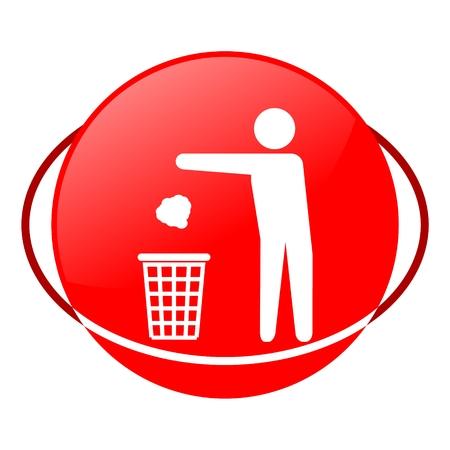 garbage man: Red icon, man throwing garbage into trash vector ilustration