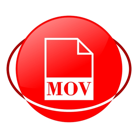 mpg: Red icon, mov file vector ilustration