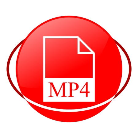 mpg: Red icon, mp4 file vector ilustration