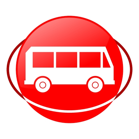 autobus: Red icon, bus vector ilustration